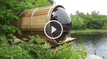 Panoramic View Cedar Barrel Sauna Assembly Video