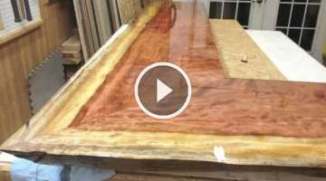 Mirror coat epoxy bar top time lapse