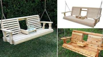 Wood Porch Swing With Cup Holders