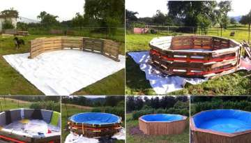 Make A Beautiful Swimming Pool With 10 Old Pallets And $80 WOW!