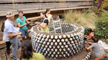 Plastic bottles to build home construction