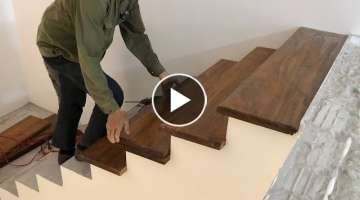 Woodworking Techniques For Stairs You've Never Seen // Build & Install Wooden Steps For New Stair...
