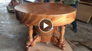 Excellent Woodworking Skills Carpenter // Build A Round Dining Table Extremely Giant and Beautifu...