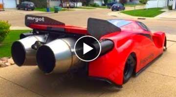 Jet Car Fires Up with Raw Sound Crazy Speed Drag Race!