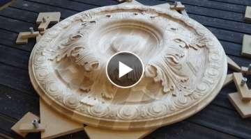 Large carved wooden rosette with CNC