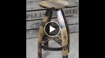 Making Bar Stool from Old Wine Barrel