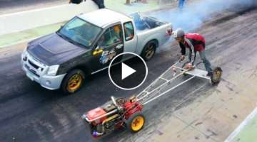 Kubota FARM TRACTOR owned MITSUBISHI PICKUP TRUCK in Drag Racing !!!