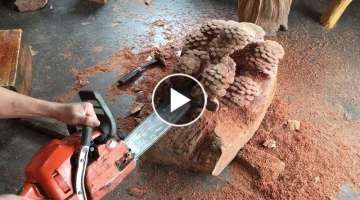 Wood Carving Skill And Techniques Extremely Artistic // Craftsmen Work With Chainsaws
