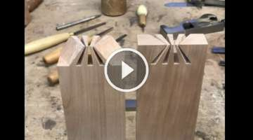 Amazing Japanese Sunrise dovetail joint. Japanese joinery.
