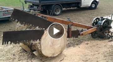 Primitive Technology vs Mega Machines Unusual Woodwork Chainsaw Log Splitter Lathe Sawmill Saw CN...