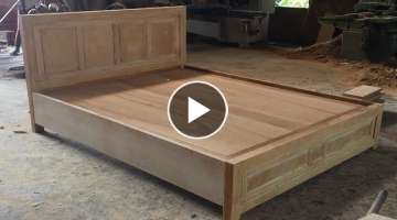 Woodworking Skills Are Very Smart - How To Building A Queen Size Bed Extremely Simple and Beautif...