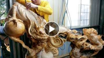 Amazing Wood Products | Fastest Skill Wood Dragon Carving With Chainsaw | Extreme Woodworking Ski...