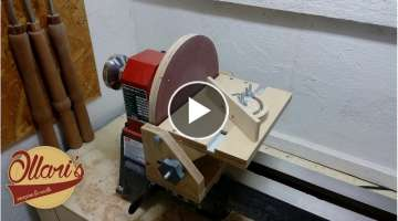 Adjustable Disc Sander and Miter Gauge for a Lathe