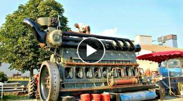 Big Gigantic Antique Diesel Engines Starting Up