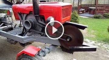 DIY Innovation – Wood Cutting Saw Attached And Ran By a Tractor!