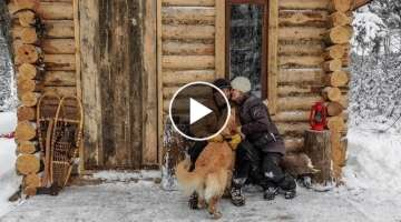 Off Grid Cabin: A Visitor, a New Door and Wood Floor