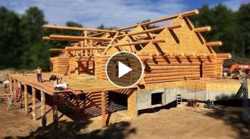 Extreme Fast Wooden House Build Skills - Modern Woodworking Machinery Log Cabin Building Process