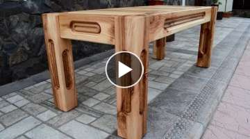 Ash tree bench with oak inserts