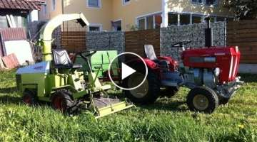 Lawn mower chopping with self drive Claas Wiesel and Schlüter