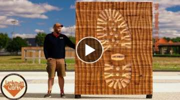 Carving a Giant 'Bootprint' from Reclaimed Wood