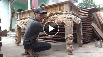 Huge Wooden Table - Amazing Woodworking Extremely Excellent Of Carpenter, DIY Woodwork Simple
