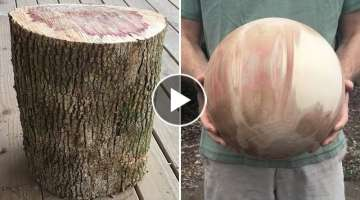 Wood-turning a perfect sphere from a box elder log