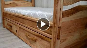 Ash tree Single Bed with Storage Drawers