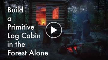 Primitive Log Cabin in the Forest Alone in the Wilderness with Hand Tools