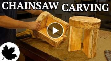 Two Stools From One Log! || Indoor Chainsaw Carving, Dewalt Flexvolt Test