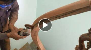 Amazing Techniques Especially Making Curved Handrail For Wooden Stairs You Have Never Seen