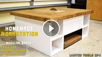 Homemade Table Saw, Jigsaw, Router Workstation Modular | How to Make