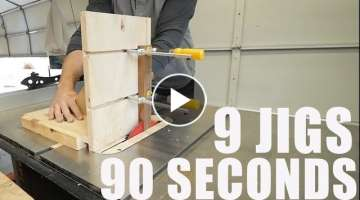 9 Woodworking Jigs in 90 seconds