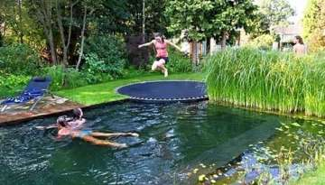 Natural Swimming Pool With Trampoline