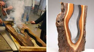 Artists Hand-Blow Molten Glass into Fallen Trees to Create Beautiful Sculptures
