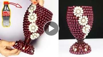 How to Make A Flower Vase At Home | Plastic Bottle Flower Vase | Home decor ideas
