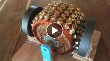 How to make a powerful DC motor using 120 screws , science school project