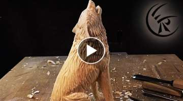 Woodcarving 'Howling Wolf' ►► Timelapse