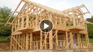 Amazing Fastest Wooden House Build Skills - Extreme Intelligent Log House Building Process