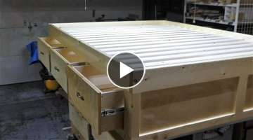 Make a queen size bed frame with 3 drawers