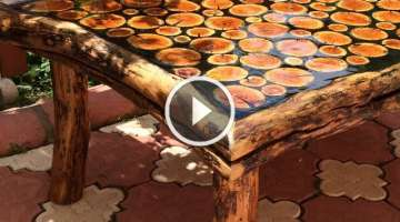 Works of art made natural wood coffee table