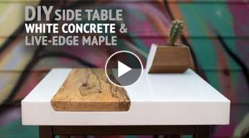 DIY White Concrete Table w/ Live-Edge Maple Inlay (using GFRC mix) - How To Make