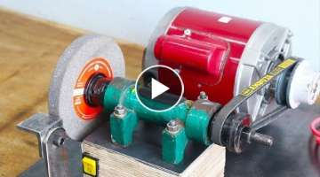 Make A Motor Powered Grinding Machine - Homemade Grinder