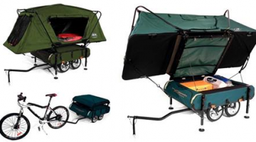 Bicycle Camper Trailer with Oversize Tent Cot