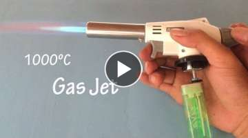 How to make a powerful Gas jet burner from lighter , up to 1000 C , cool idea 2018