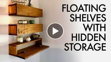 DIY Floating Shelves with Hidden Storage // How To - Woodworking