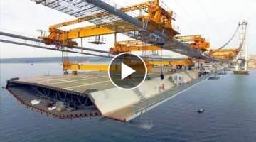 Amazing Modern Suspension Bridge Construction Technology. Incredible Construction Equipment Machi...
