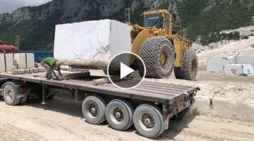 Cat 988B Wheel Loader Loading Marble Blocks On Trucks - Birros Marbles