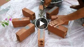 AMAZING . Design beautiful flower pots at home - Instructions make pots from brick break