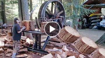 10 Dangerous Homemade Automatic Firewood Processing Machine, Wood Cutting Machine Splitting Firew...