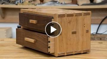 Two Drawer Dovetail Box - Hickory and Walnut - 282